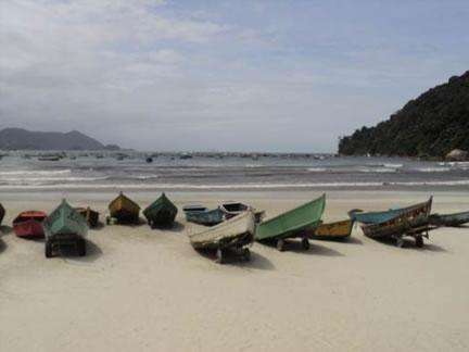 Figura 46. Barcos de pesca e passeio na Praia do Perequê.