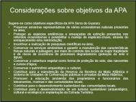 Considerações sobre objetivos da APA
